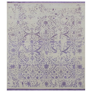 Hand Knotted Creamy White/Gentle Violet Transitional Pattern Rug (9' X 12')