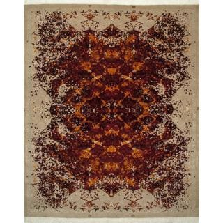 Hand Knotted Cranberry/Dark Ivory Contemporary Pattern Rug (8' X 10')