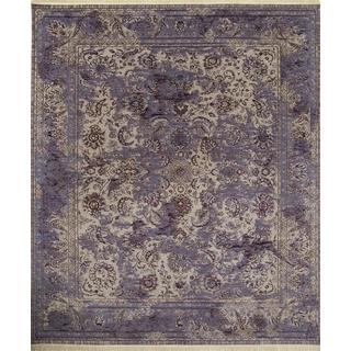 Hand Knotted Crystal Gray/Wisteria Modern Transitional Pattern Rug (8' X 10')