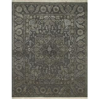 Hand Knotted Soft Gray/Off White Modern Medallion Pattern Rug (8' X 10')