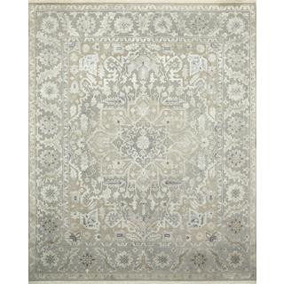 Hand Knotted Soft Gray Modern Medallion Pattern Rug (8' X 10')