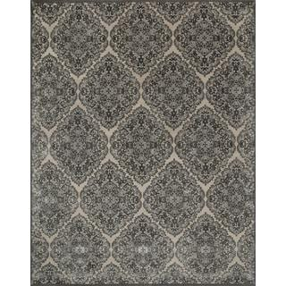 Hand Knotted Medium Ivory/Charcoal Slate Modern Medallion Pattern Rug (8' X 10')