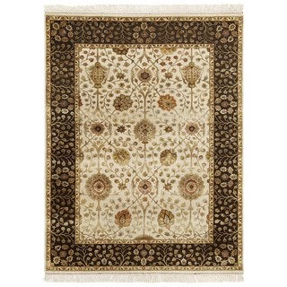 Hand Knotted Medium Ivory/Cocoa Brown Classic Pattern Rug (8' X 10')