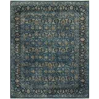 Hand Knotted Teal Blue Classic Pattern Rug (8' X 10')