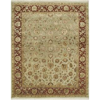 Hand Knotted Apple Green/Red Ochre Classic Pattern Rug (9' X 12')