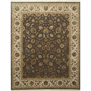 Hand Knotted Mushroom/Ivory Classic Pattern Rug (9' X 12')