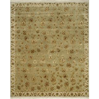 Hand Knotted Sage Green/Medium Ivory Classic Pattern Rug (8' X 10')