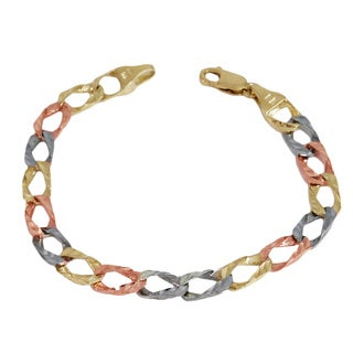 Regalia 8.5' Three-Color 10KT Gold Chain-link Bracelet