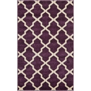 Modern Trellis Purple/Beige Polypropylene Power-loomed Area Rug (3'5 x 5')