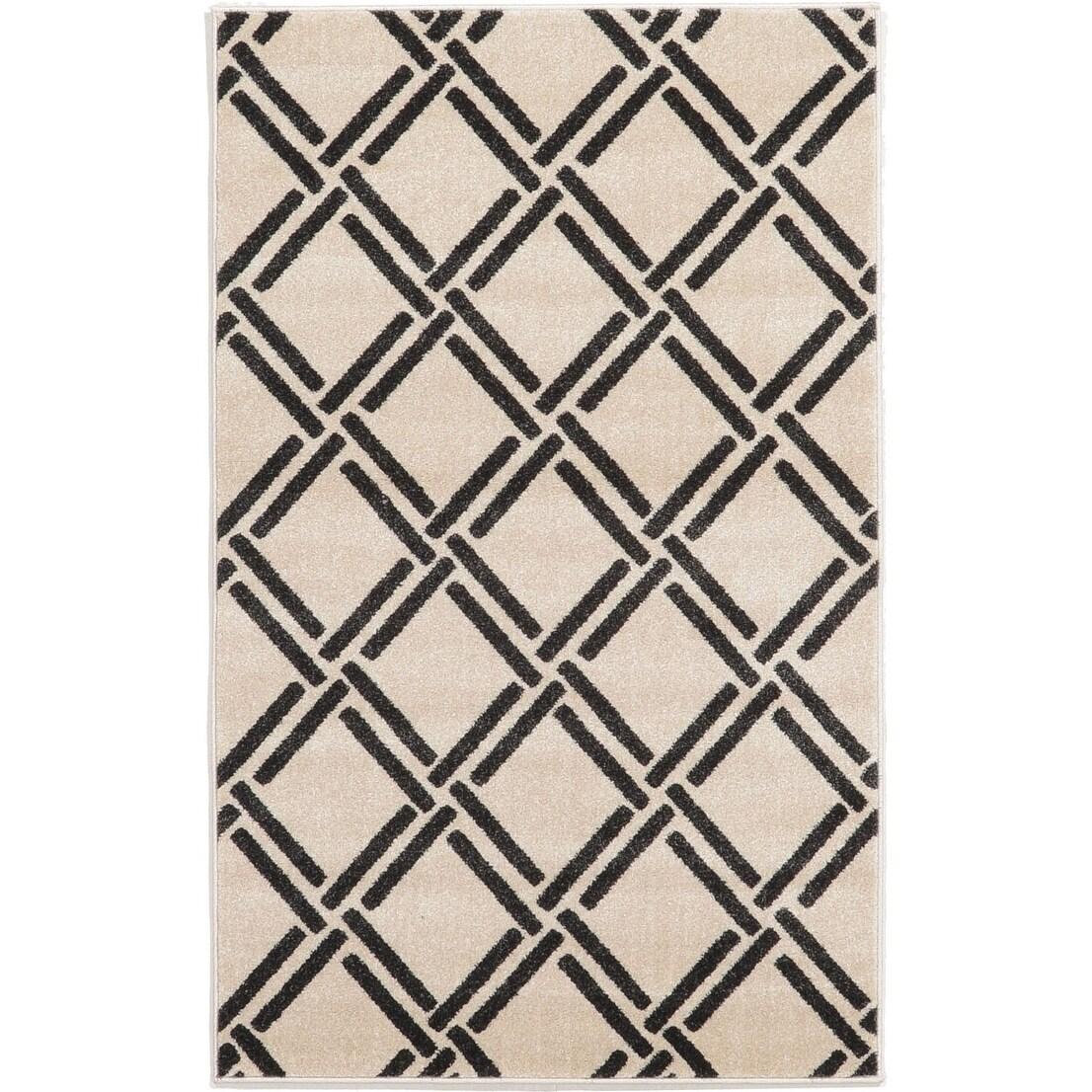 Geometric Rayon from Bamboo Trellis Beige/Black Polypropy...