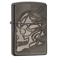 Zippo Carved Skull Black Ice Windproof Lighter