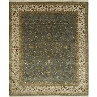Hand Knotted Mineral Blue/Medium Ivory Classic Pattern Rug (8' X 10')