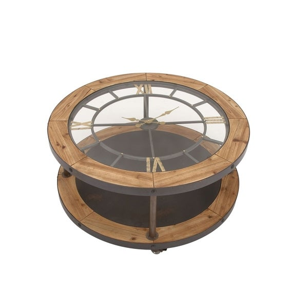 Awesome Classic Metal And Wood Clock Coffee Table