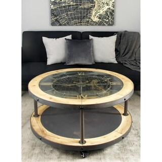 Rustic 19 x 40 Inch Wood and Iron Clock Coffee Table by Studio 350