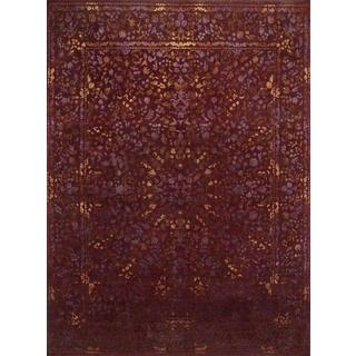 Hand Knotted Deep Red Transitional Floral Pattern Rug (8' X 10')