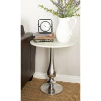 Benzara White Marble and Silver Aluminum Accent Table