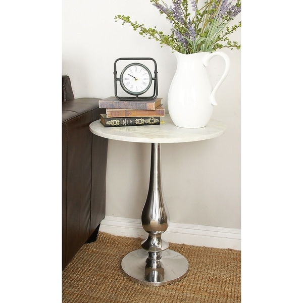 Traditional 24 x 20 Inch Round Marble Accent Table by Studio 350