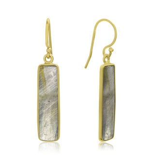 10 TGW Pyrite Bar Earrings In 14 Karat Yellow Gold Over Sterling Silver, 1 Inch