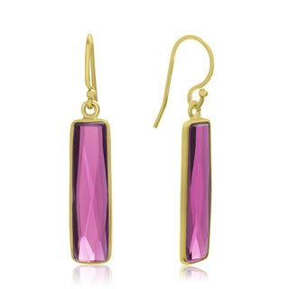10 Carat Raspberry Quartz Bar Earrings In 14 Karat Yellow Gold, 1 Inch