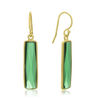 10 Carat Emerald Bar Earrings In 14 Karat Yellow Gold, 1 Inch