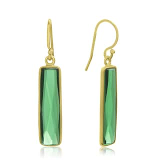10 TGW Emerald Bar Earrings In 14 Karat Yellow Gold Over Sterling Silver, 1 Inch