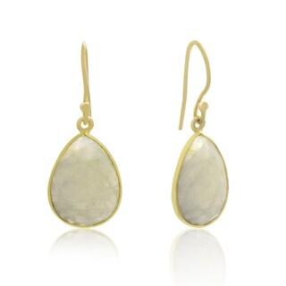 12 Carat Moonstone Pear Shape Earrings In 18 Karat Gold Overlay