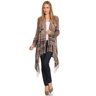 High Secret Women's Fringed Knit Open Front Cardigan
