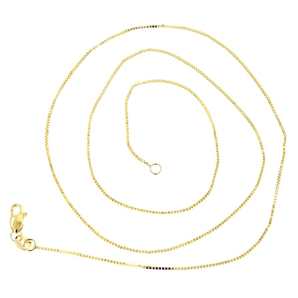 14k White Gold 1.1mm Lobster Box Chain Necklace