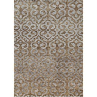 Hand Knotted Wheat Contemporary Pattern Rug (9' X 13')
