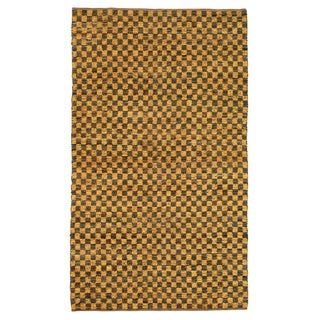 Noble House Inc Coster Gold/Brown Leather/Chenille Flatweave Area Rug (8' x 11')