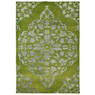 Hand Knotted Wild Lime Transitional Medallion Pattern Rug (8' X 13')