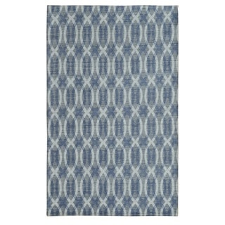 Noble House Inc Electra Flatweave Blue/Cream Viscose Area Rug (7'.9 x 10'.6)