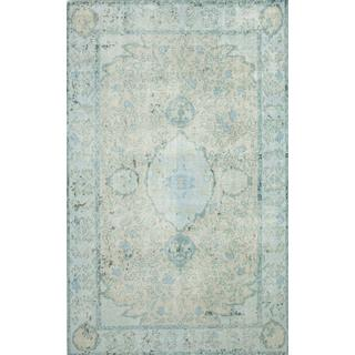 Hand Knotted Sea Blue/Sea Mist Green Modern Transitional Pattern Rug (8' X 10')