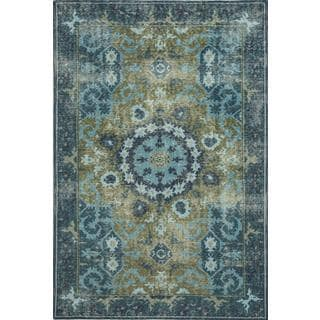 Hand Knotted Green/Peacock Blue Transitional Pattern Rug (8' X 10')