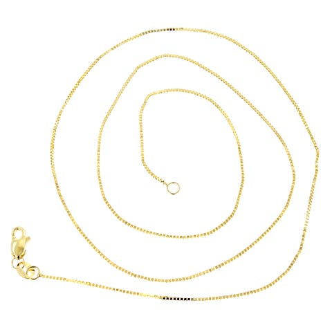 Luxurman Solid 14k Gold 1.1-mm Wide Classic Box Chain Lobster Clasp Necklace