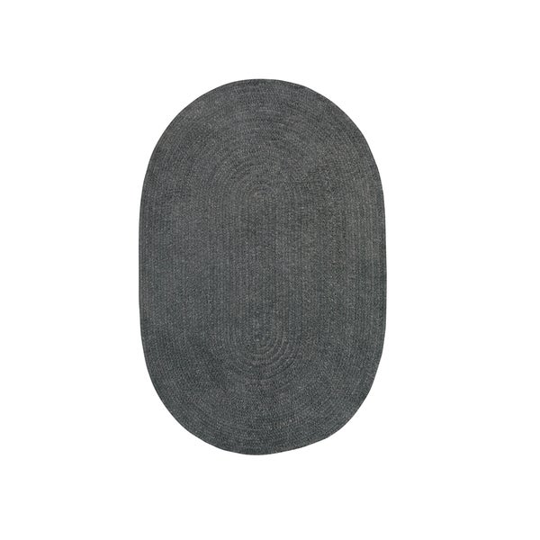 Brindille Chenille Oval Made to Order Rug Cinder (7' x 9') - 7' x 9'