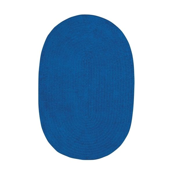 Brindille Chenille Oval Made to Order Rug Royal Blue - 7' x 9'