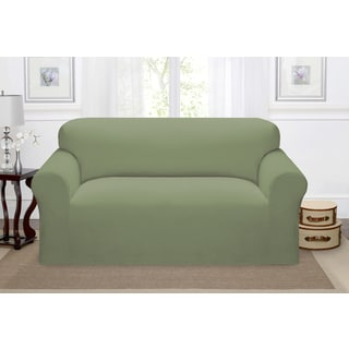 Stretch Pique, Polyester, and Spandex Loveseat Slipcover