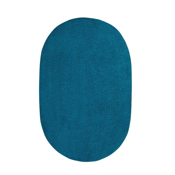 Brindille Chenille Oval Made to Order Rug Azure - 8' x 11'