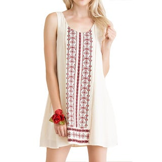 Women's Gauze Beige Rayon Sleeveless Shift Dress
