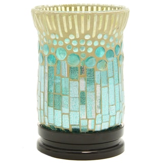Multicolored Art Glass and Polyresin 6.75-inches High Mosaic Design Uplight LED Battery-operated Accent Lamp