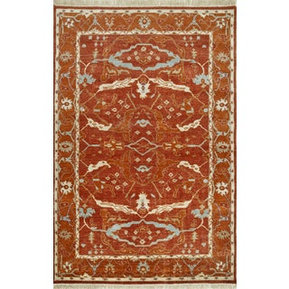 Hand Knotted Russet/Red Orange Classic Pattern Rug (8' X 10')