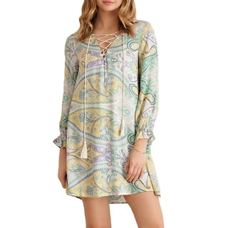 Women's Beigh Paisley Print Rayon Shift Dress with Tassel Strings