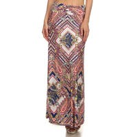 Women's Tapestry Geometric Multicolor Polyester and Spandex Maxi Skirt