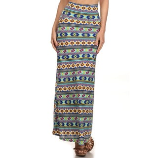 Women's Polyester/Spandex Geometric Stripe Maxi Skirt