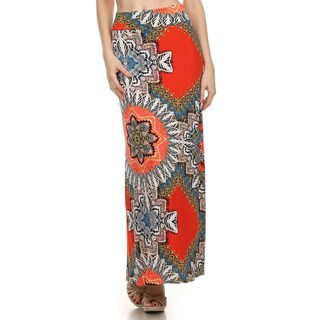 Women's Multicolor Polyester and Spandex Bohemian Maxi Skirt