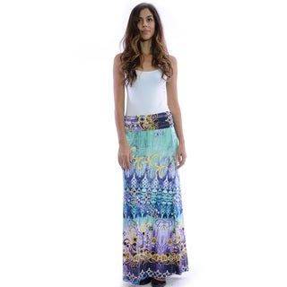Women's Multicolor Polyester Tapestry Patterned Maxi Skirt