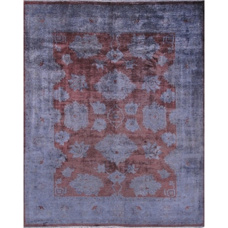 Pasargad's Overdye Collection Red Wool Hand-knotted Area Rug (8'1 x 10') - 8' x 10'