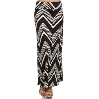 Women's Multicolor Polyester/Spandex Chevron Maxi Skirt