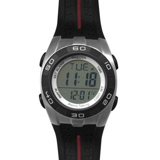 Dakota Black Rubber/ Stainless Steel Talking Digital Atomic Watch